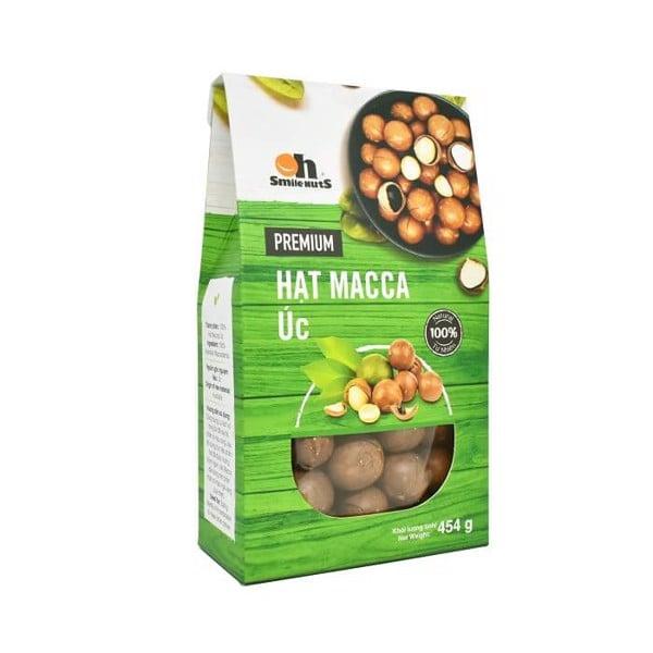 Hạt Macca Úc nứt vỏ nướng Smile Nuts hộp giấy 454g