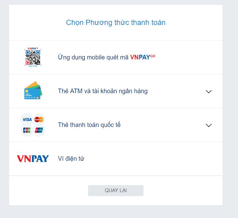Giao diện thanh toán trên VNPay
