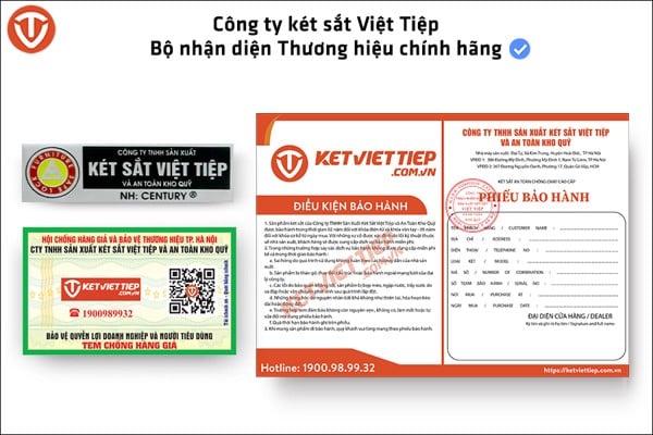 bộ nhận diện sản phẩm chính hãng công ty két sắt Việt Tiệp