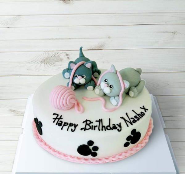 bánh kem sinh nhật 2 con mèo