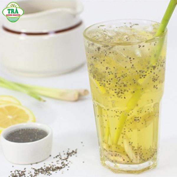 Công thức pha trà đá chanh xả hạt chia từ trà xanh
