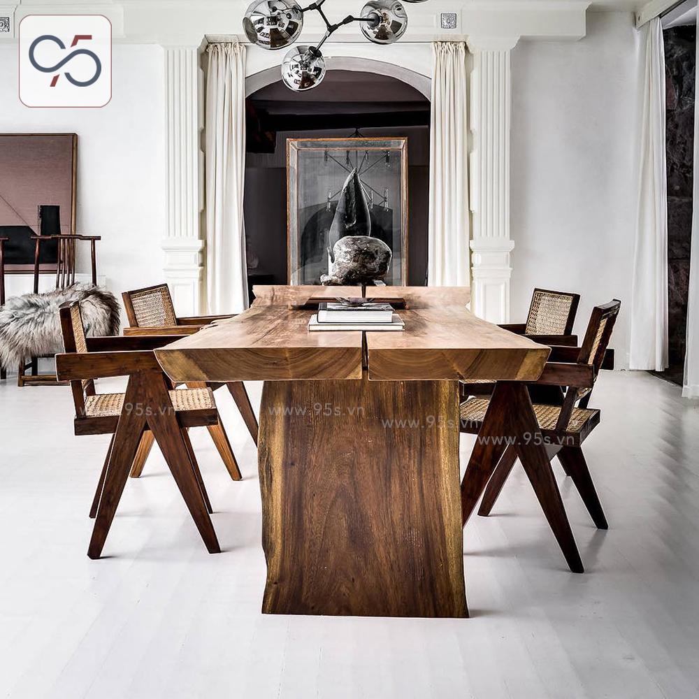 Bộ-bàn-ăn-gỗ-nguyên-khối-4-ghế-gỗ-mây-V-leg-Pierre-Jeanneret