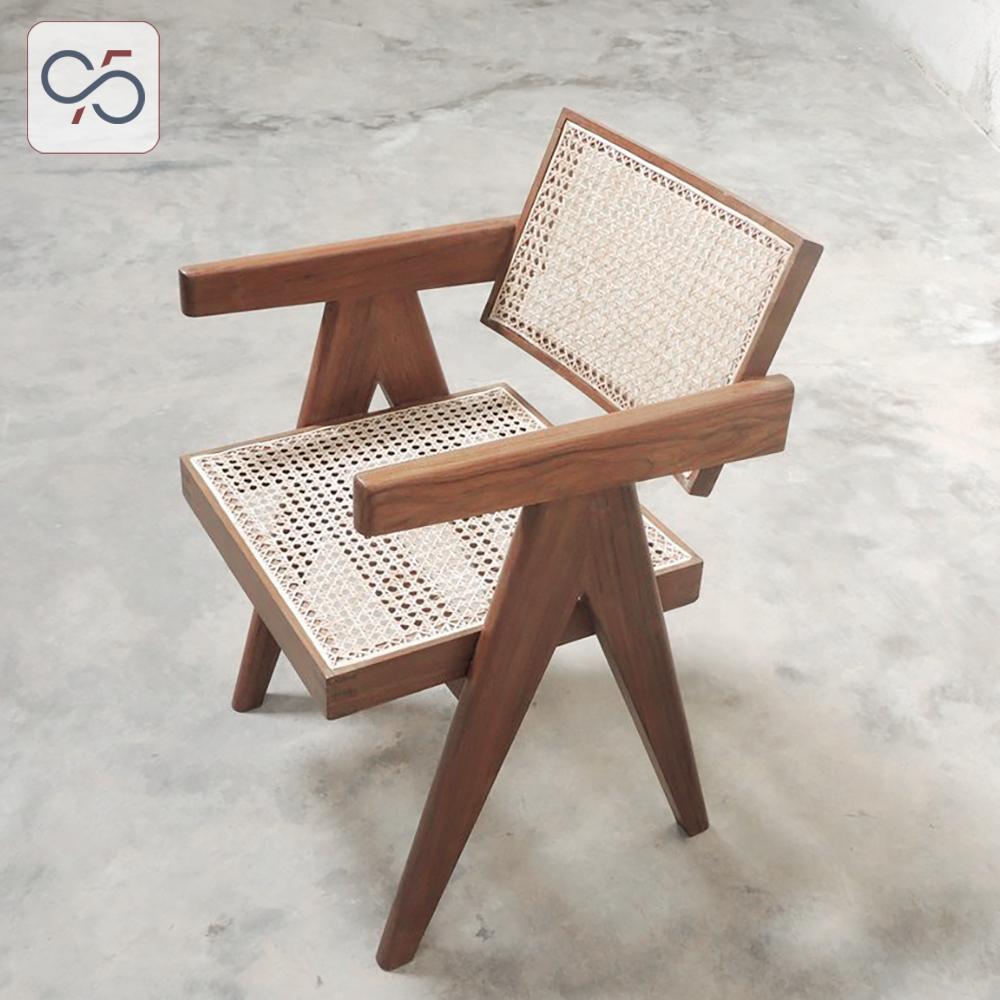 Ghế-ăn-cafe-có-tay-gỗ-mây-V-leg-PIERRE-JEANNERET-Nâu-walnut-3