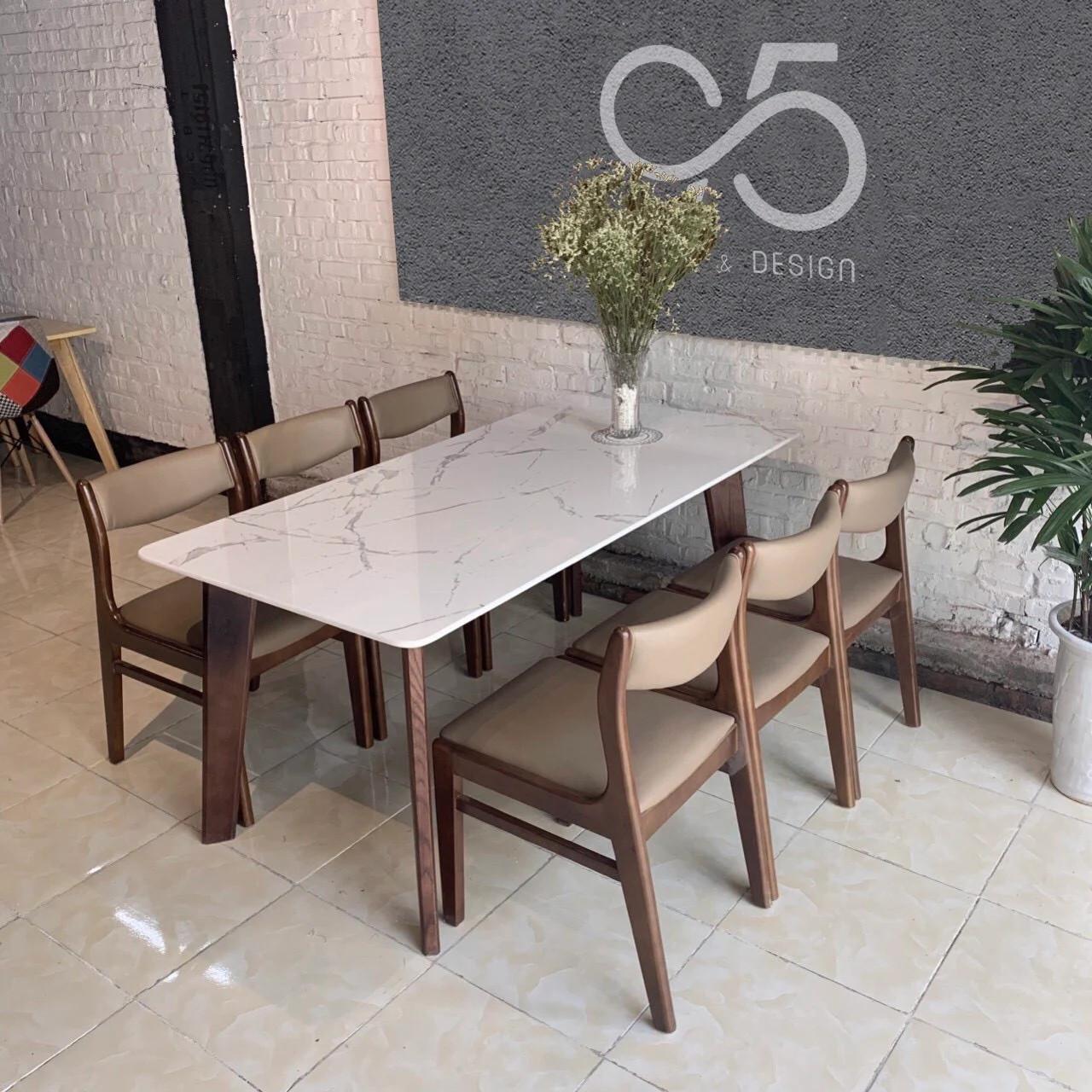 Bộ-bàn-ăn-mặt-đá-chân-gỗ-Howard-6-ghế-gỗ-Bella