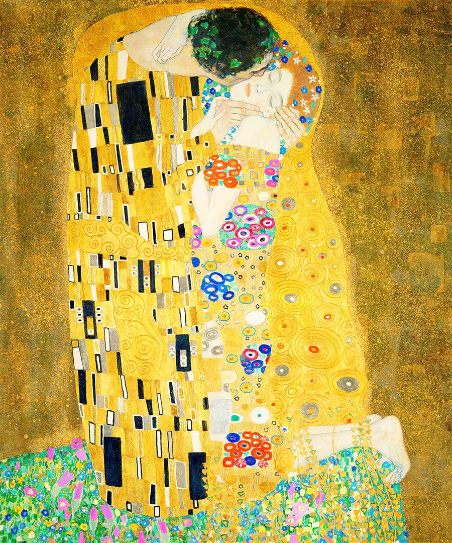 Tranh-canvas-cổ-điển-Châu-ÂU-The-Kiss-Gustav-Klimt