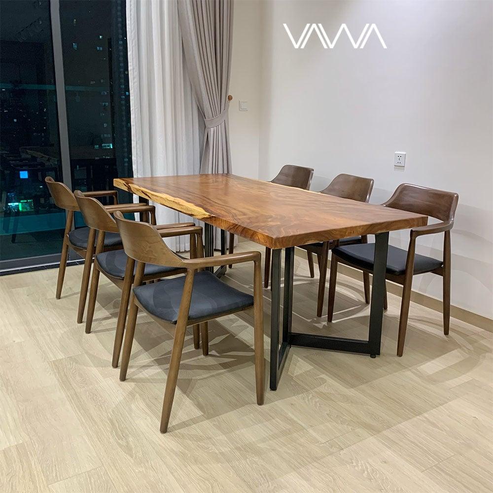 Bộ bàn ăn Gỗ Me Tây nguyên tấm ghế HIROSHIMA Hà Nội