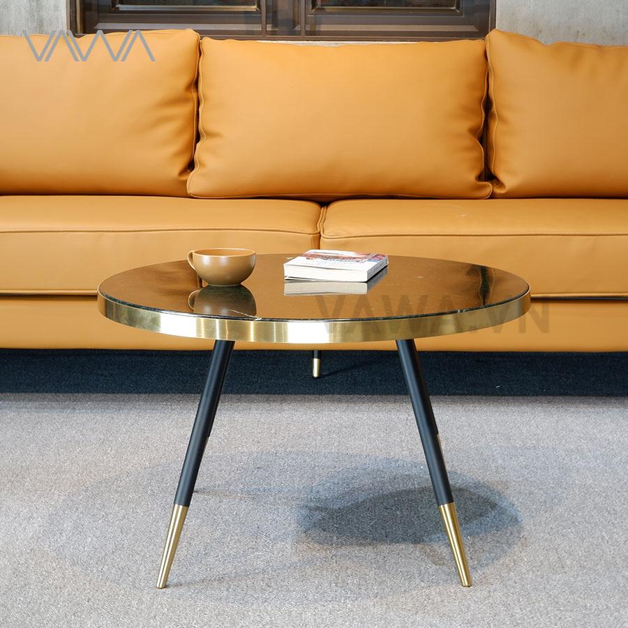Bàn trà sofa đẹp mặt đá nhập Ý, khung mạ vàng PVD