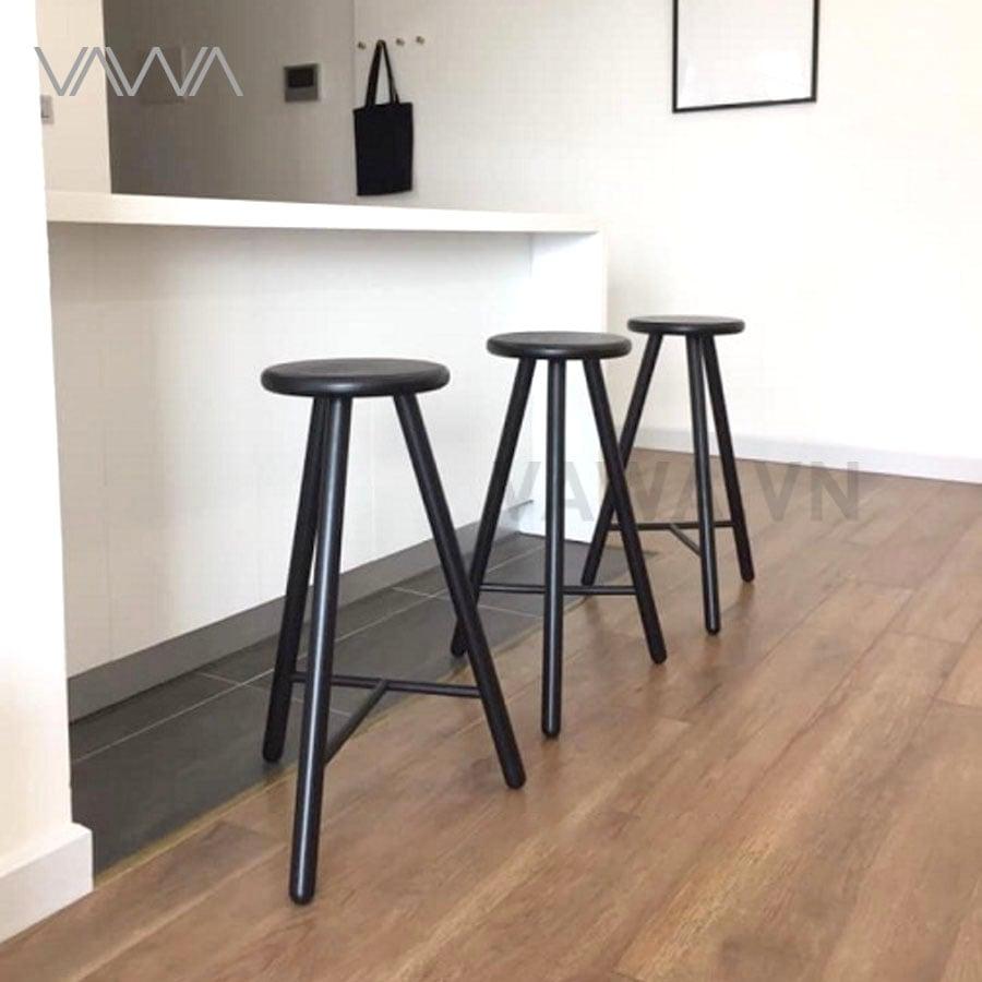 Ghế quầy bar cafe gỗ đẹp mặt tròn FIT Hà Nội