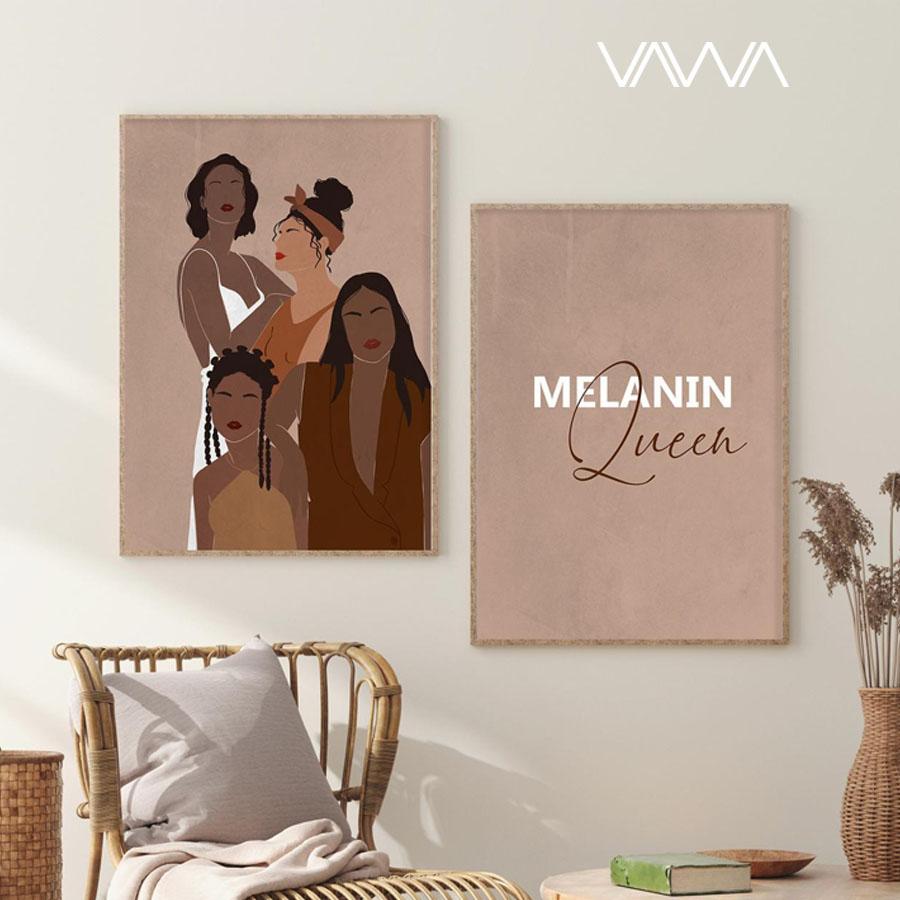 Tranh canvas tối giản Minimalist - Tranh hiện đại trừu tượng cô gái bộ 2 tranh