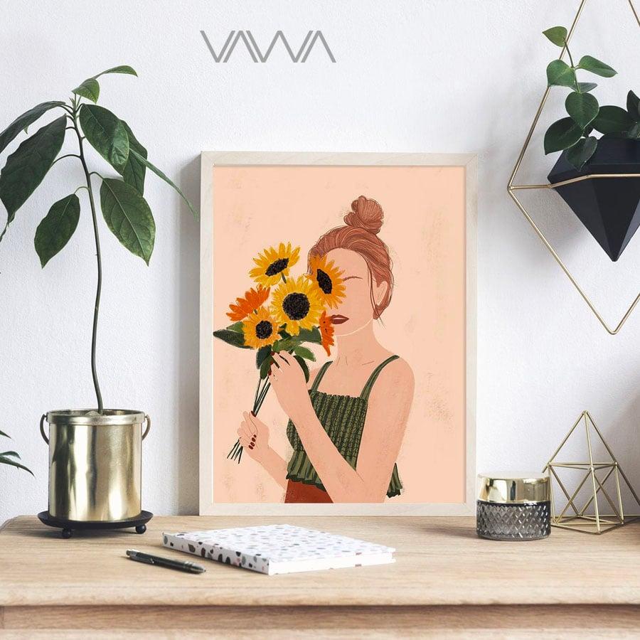 Tranh canvas tối giản Minimalist - Tranh hiện đại trừu tượng cô gái
