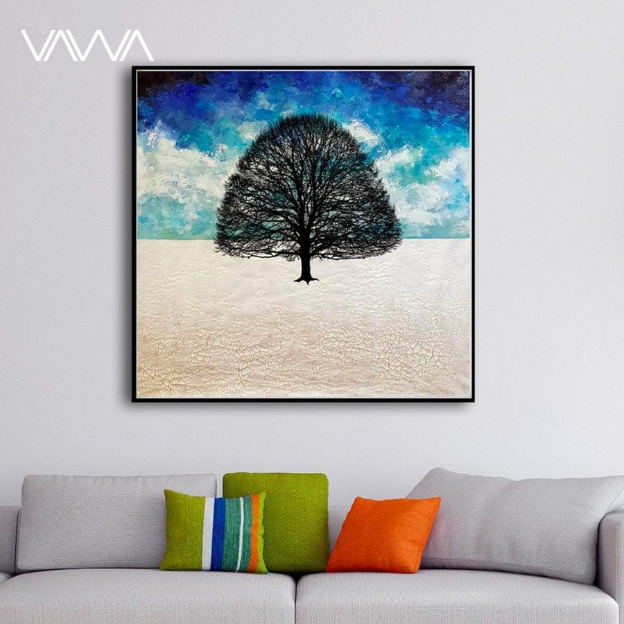 Tranh Canvas trừu tượng hiện đại - Tranh tối giản cây sắp đặt