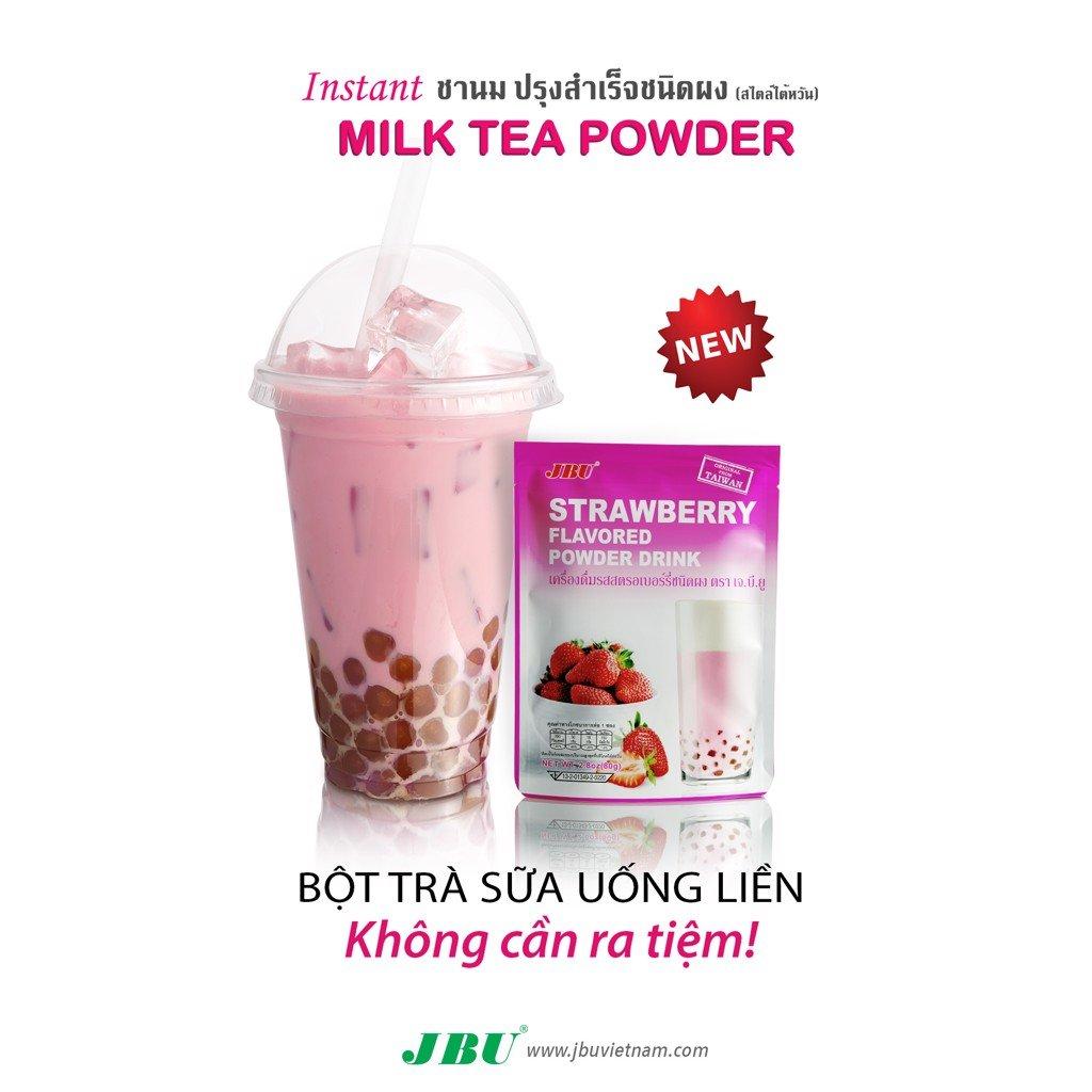 Strawberry INSTANT MILK TEA POWDER JBU trà sữa pha sẵn vị dâu