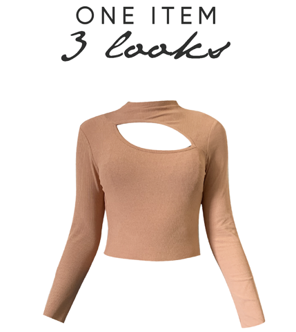 1 ITEM 3 LOOKS: LONG SLEEVES CUT-OUT TOP