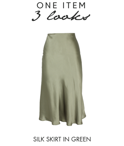 1 ITEM 3 LOOK: SILK SKIRT IN GREEN