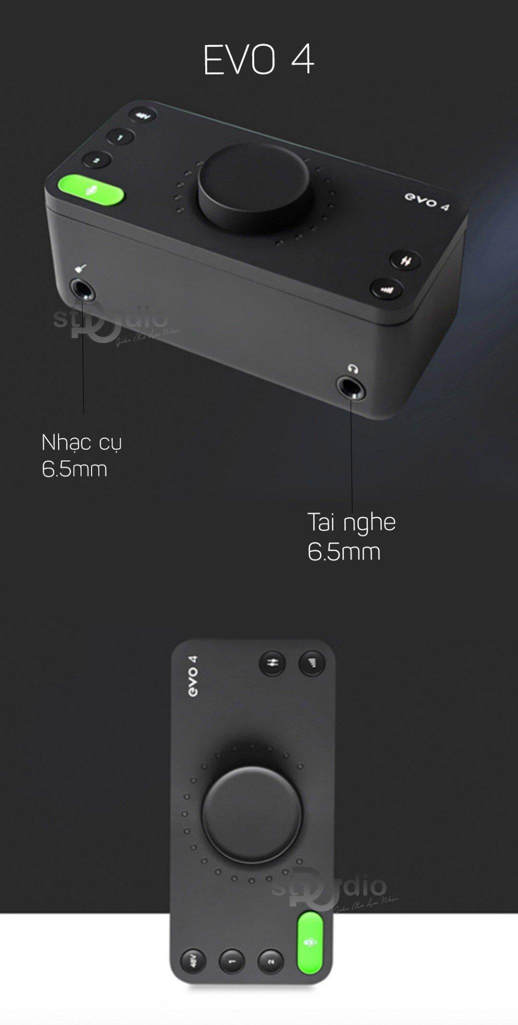 Sound card thu âm Audient Evo 4 - Interface thu âm mini chuyên dụng