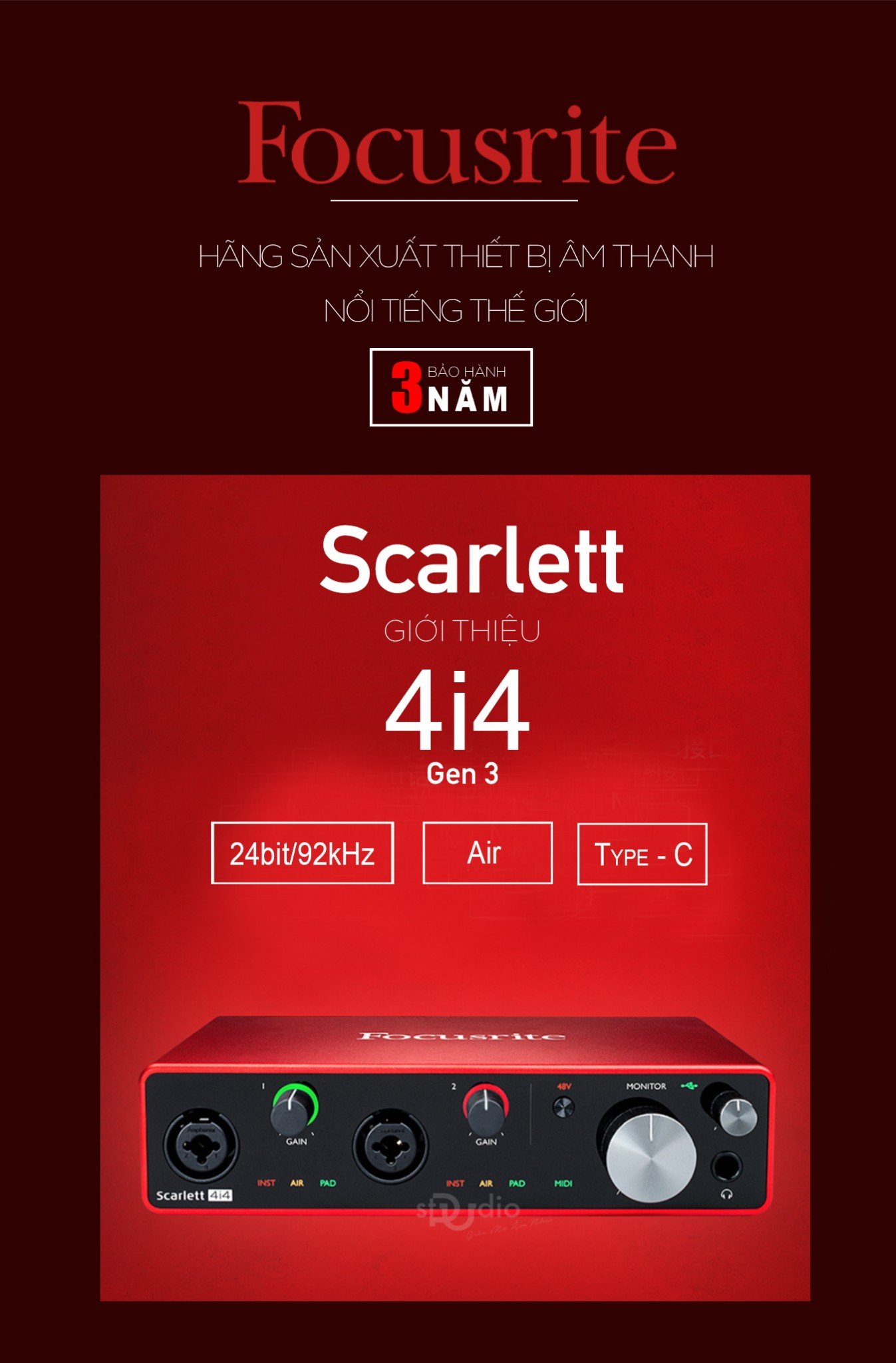 Soundcard Focusrite Scarlett 4i4 3rd (Gen) - Interface thu âm studio