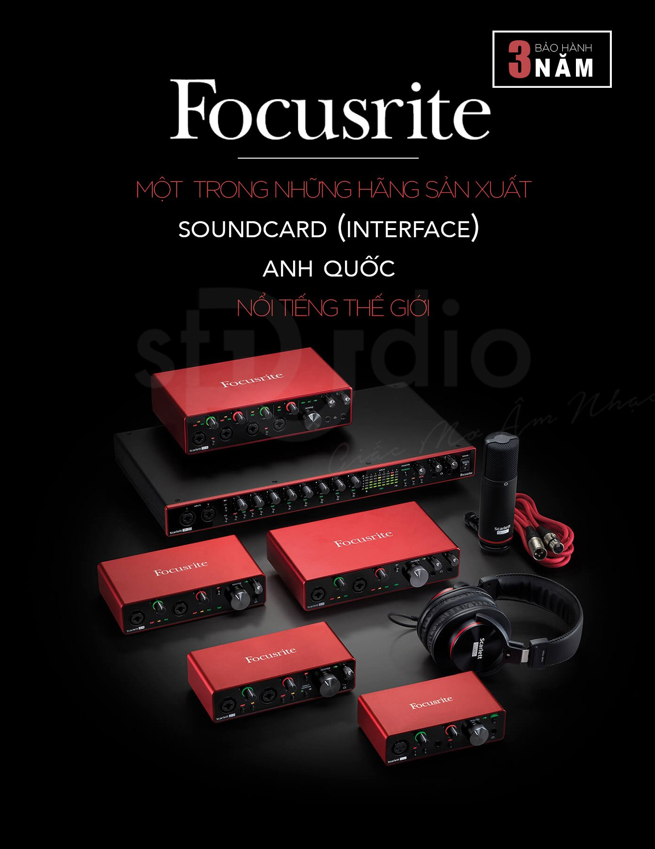 Soundcard Focusrite Scarlett Solo 3rd (Gen) - Interface thu âm studio mini