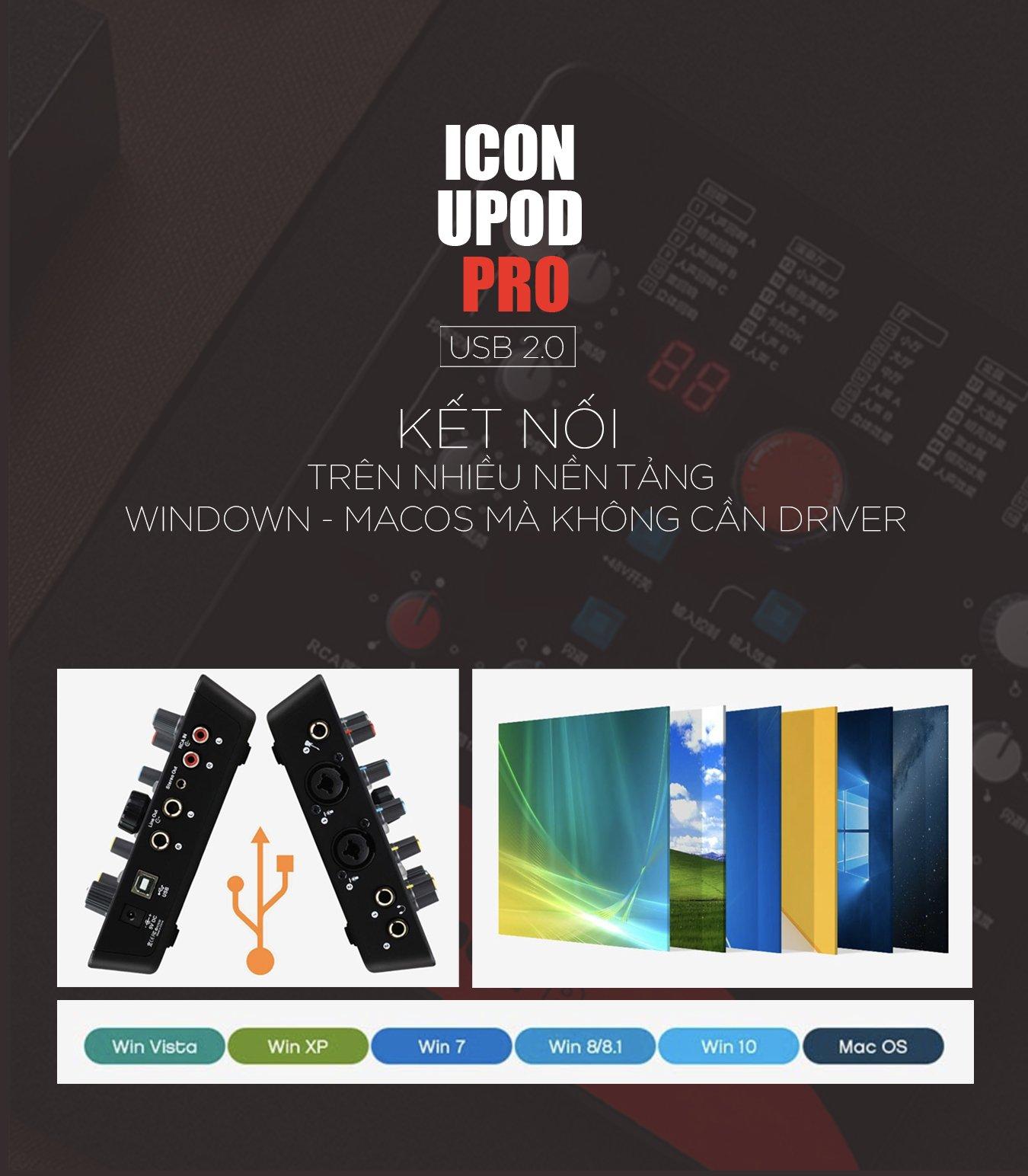 Sound card livestream ICON UPOD PRO, hát thu âm karaoke chuyên nghiệp