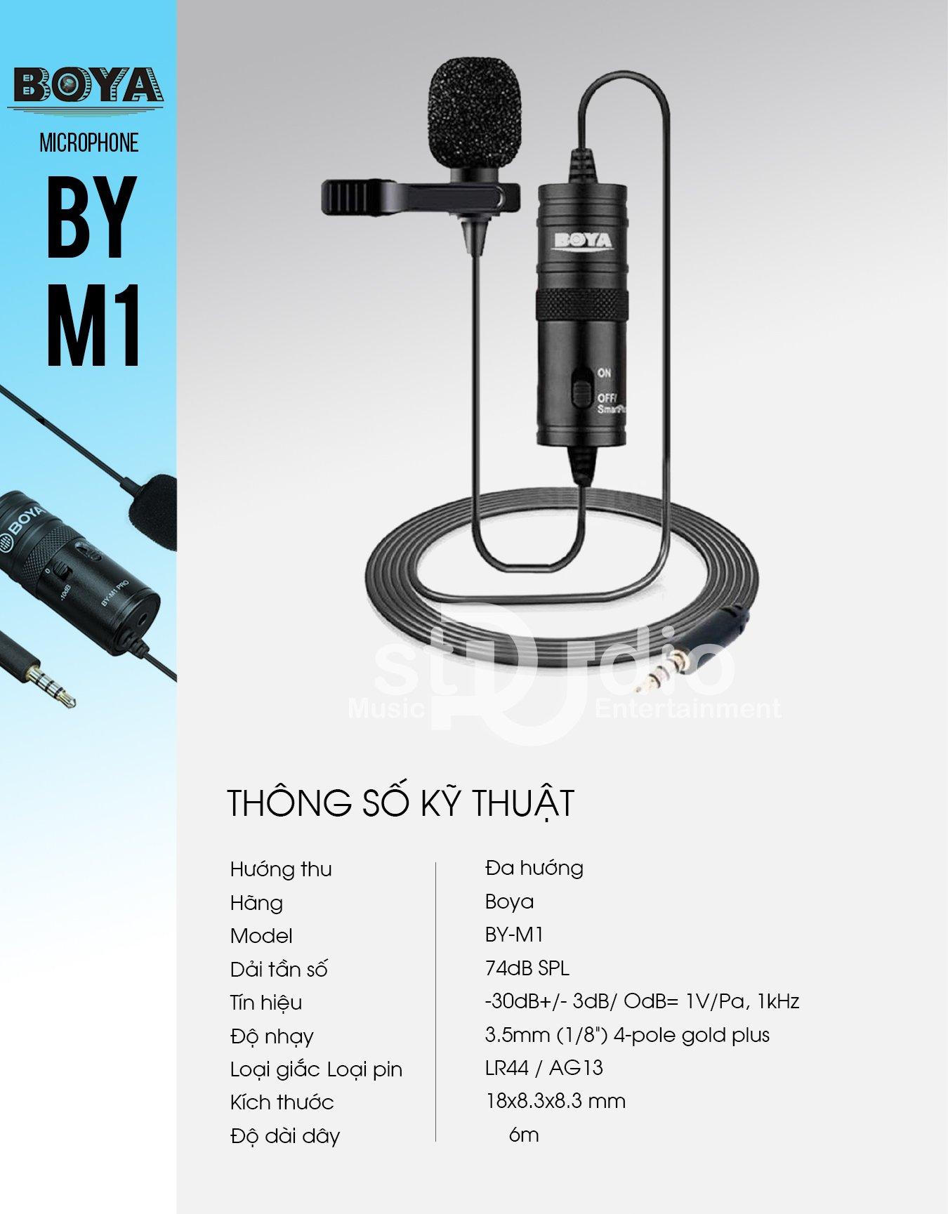 Microphone Boya By-M1, Mic cài áo thu âm máy quay, điện thoại