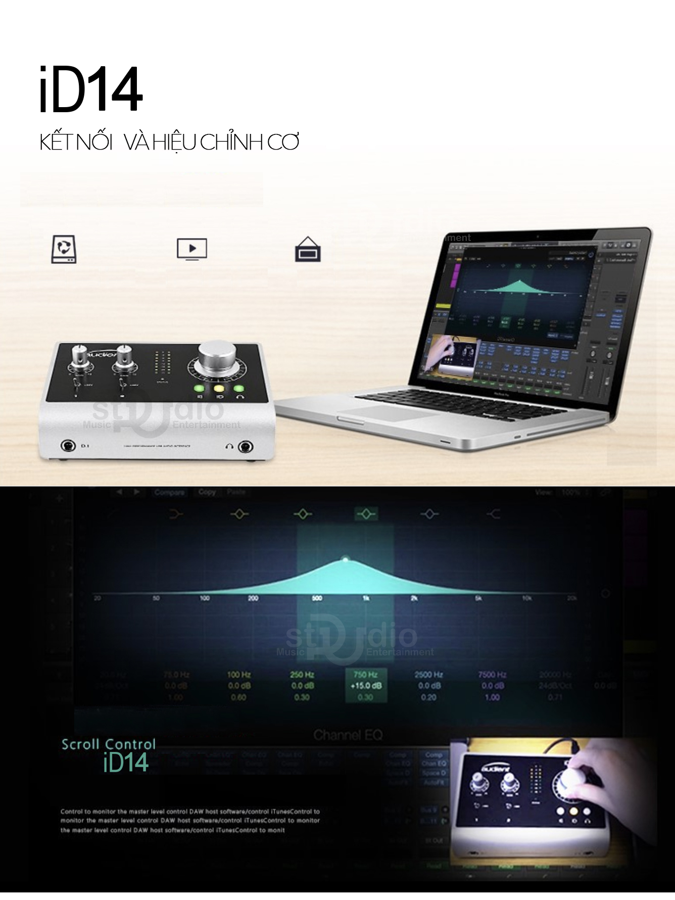 Soundcard thu âm cao cấp Audieacnt iD14, Interface studio