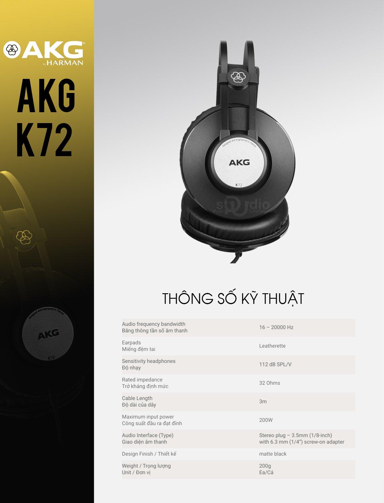 Tai nghe kiểm âm AKG K72, Headphone Studio