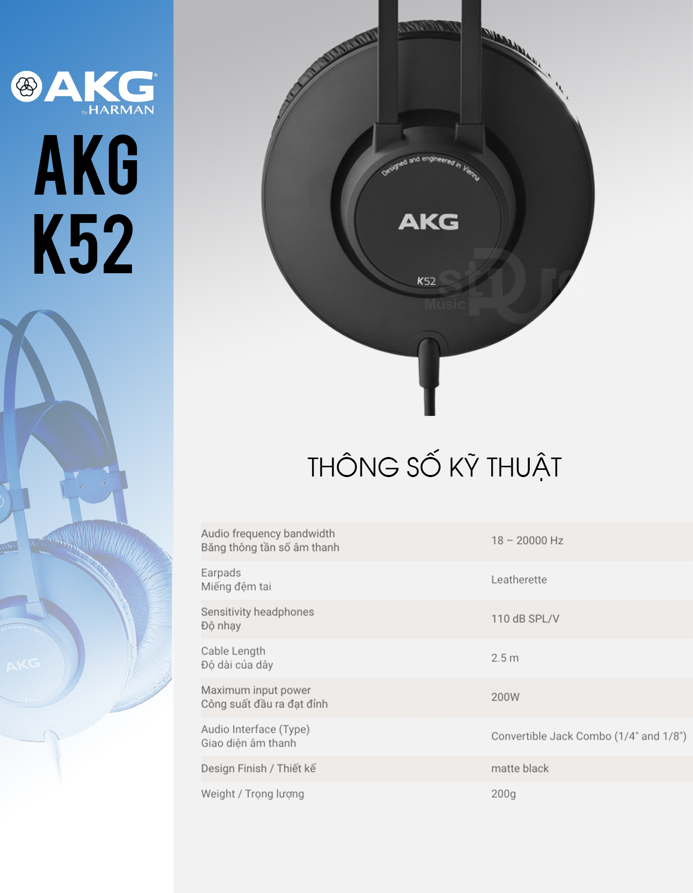 Tai nghe kiểm âm AKG K52, Headphone Studio