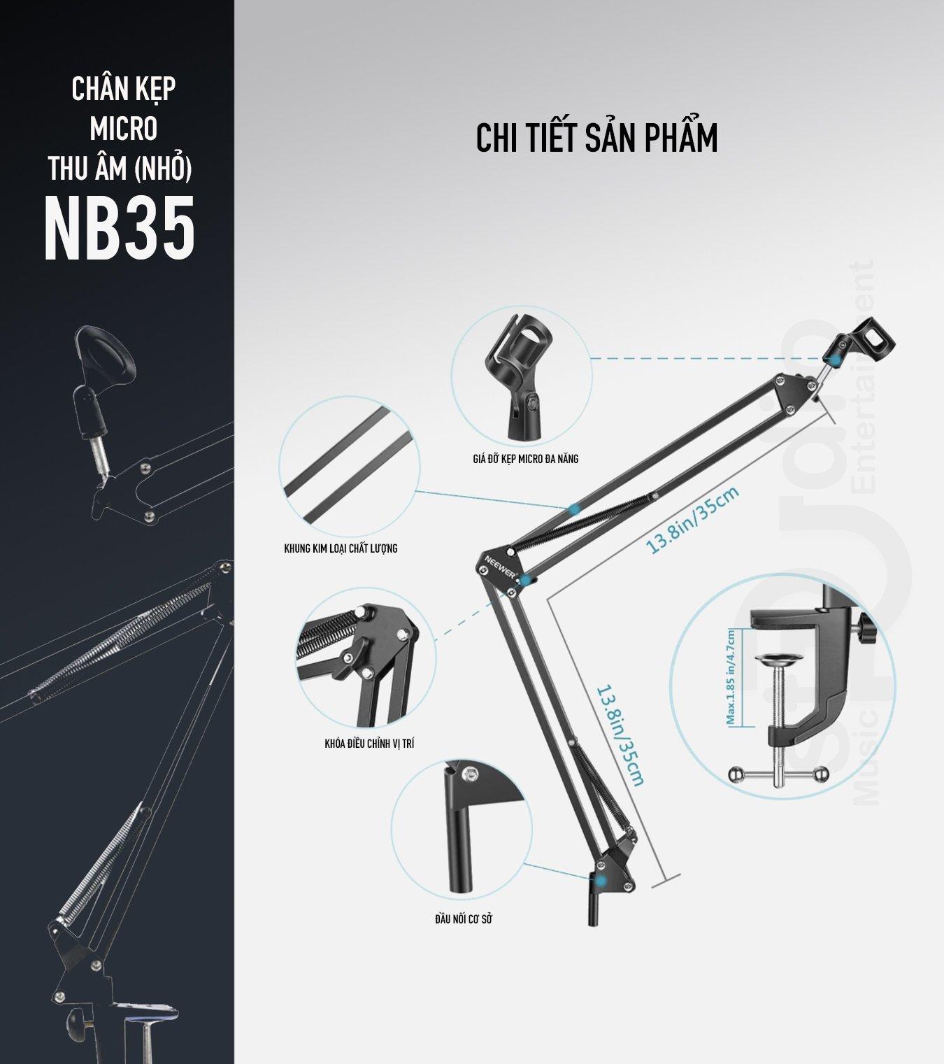 Chân Microphone NB-35 (nhỏ) -Chân Micro kẹp bàn, giá đỡ Micro