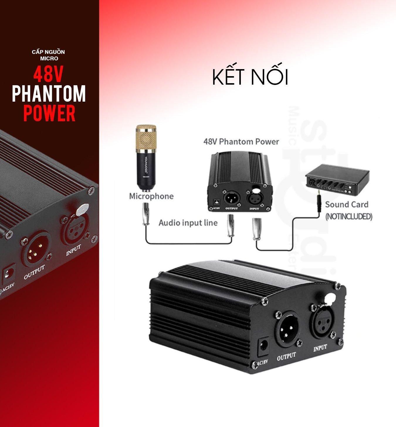 Nguồn phantom 48V - nguồn cung cấp điện cho micro thu âm Condenser