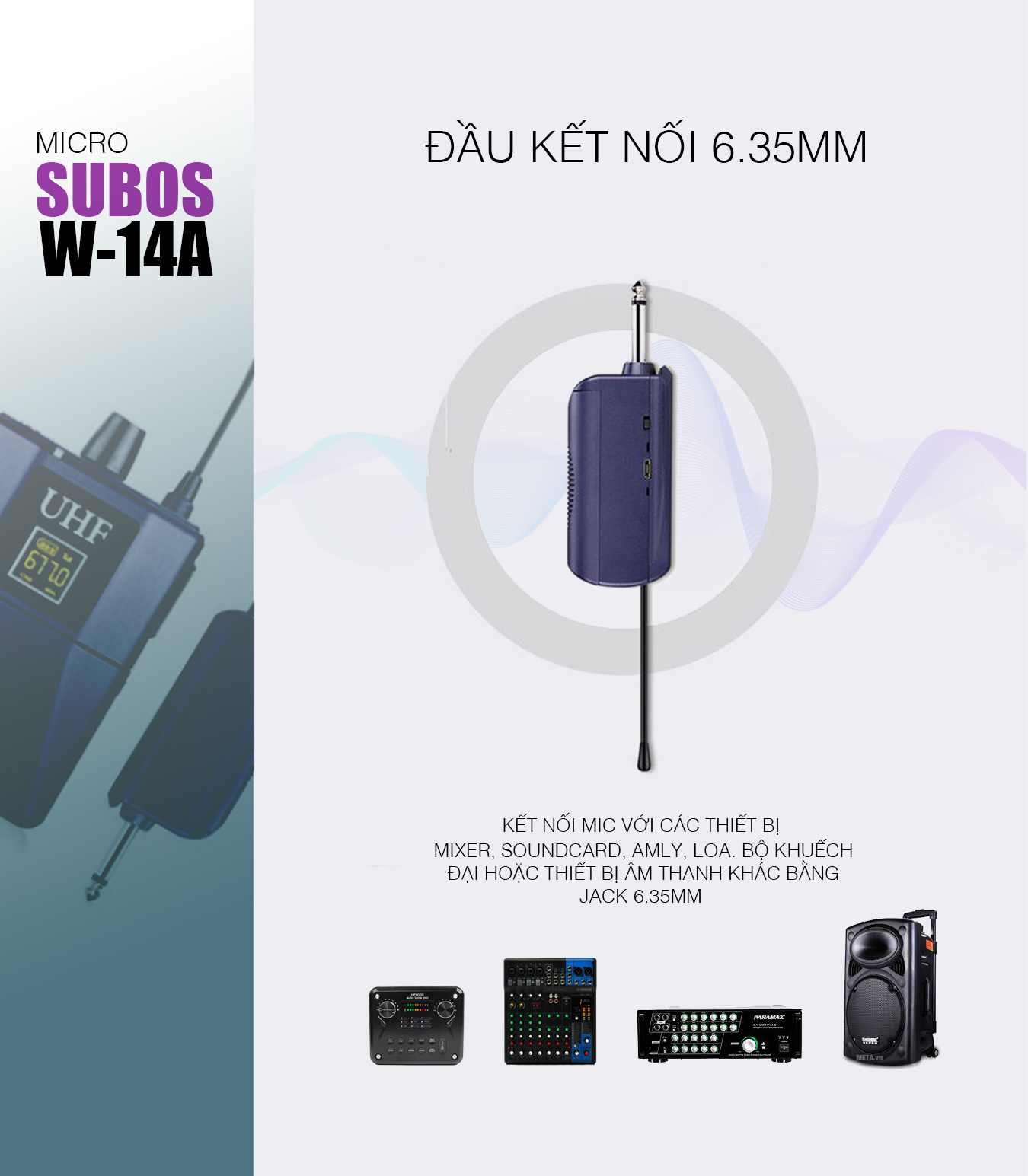 Microphone Wireless SUBOS W14A - Micro đeo tai livestream bán hàng