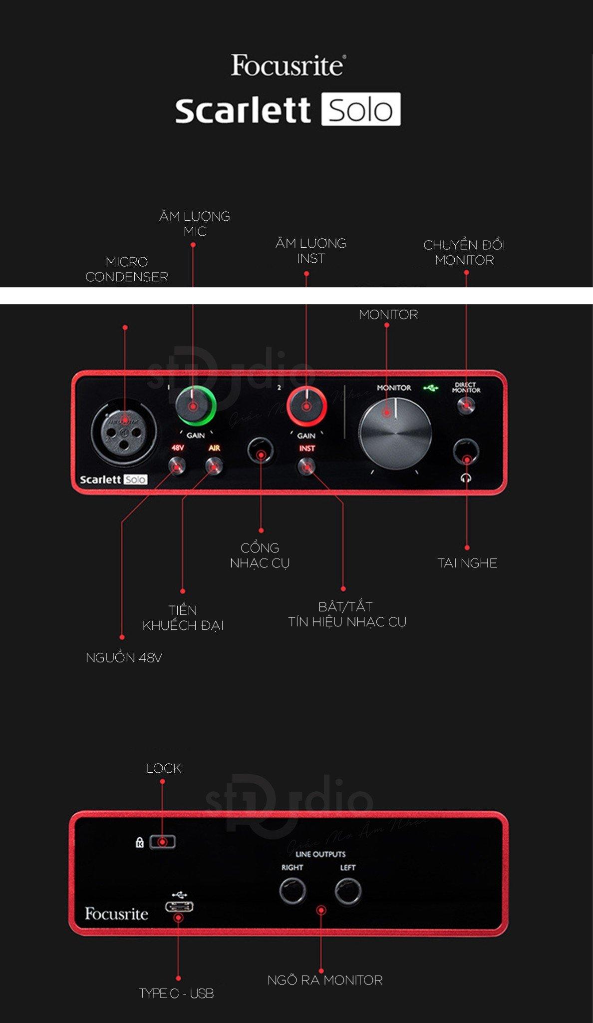 Combo nhà sản xuất Focusrite Scarlett Solo Studio Pack 3rd (Gen)