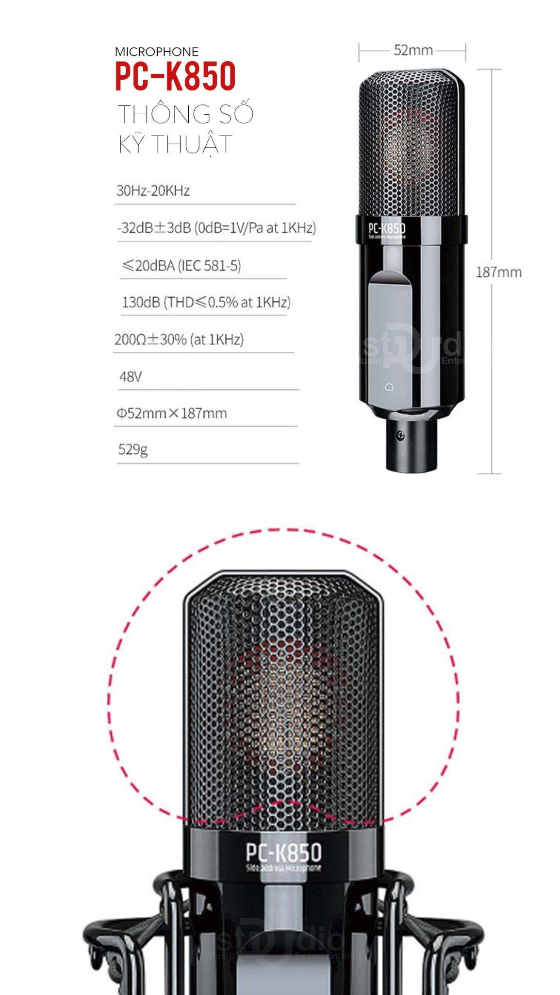 Micro thu âm cao cấp Takstar PC-K850, Mic livestream chuyên nghiệp trong phòng thu