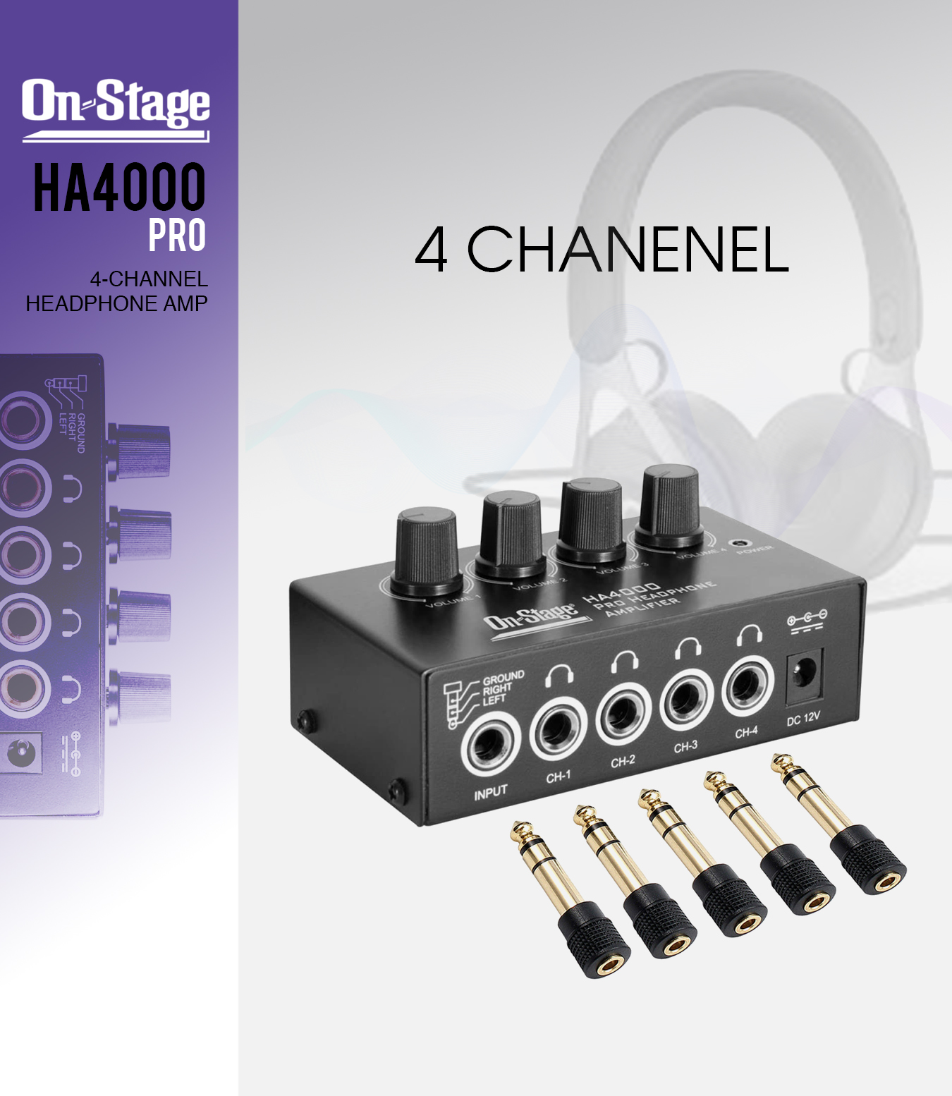 Thiết bị chia tai nghe On-Stage HA4000 4-Channel Headphone Amp