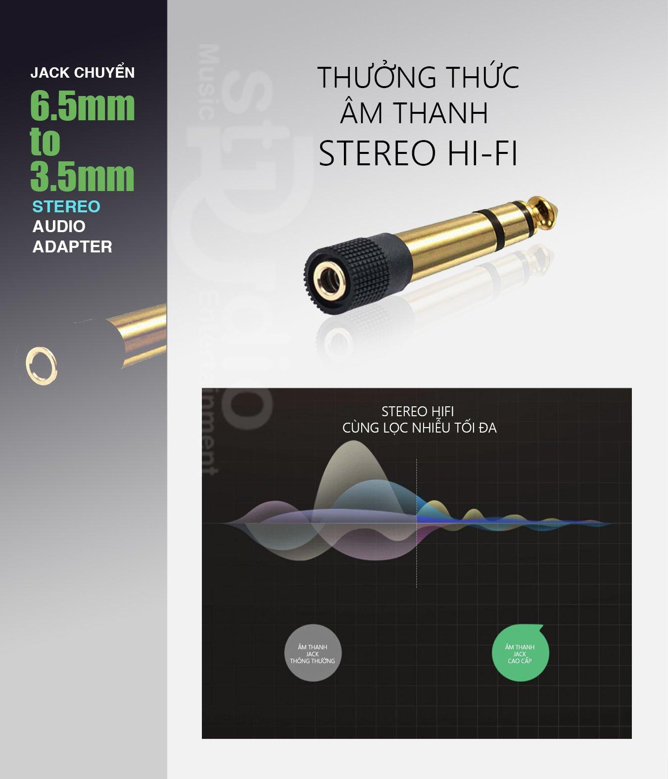 Jack chuyển 6ly ra Jack 3.5mm Stereo cao cấp, cắm được tất cả tai nghe