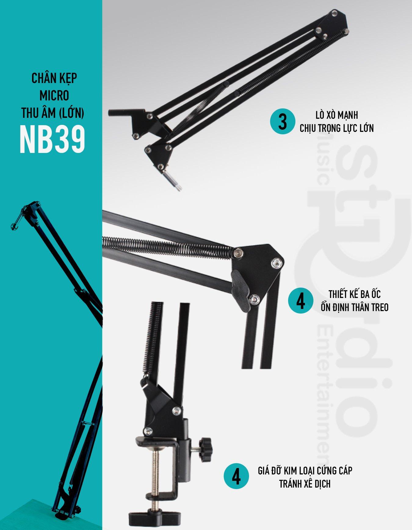 Chân Microphone NB-39 (Lớn) -Chân Micro kẹp bàn, giá đỡ Micro