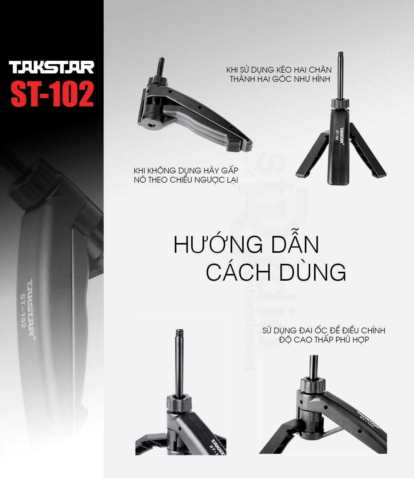 Chân để bàn Micro thu âm Takstar ST-102, thiết kế gọn nhỏ dễ dàng sử dụng