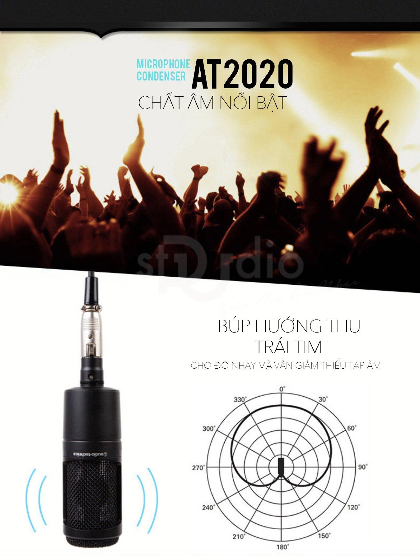 Microphone Audio Techina AT2020, Micro thu âm Condenser chuyên nghiệp
