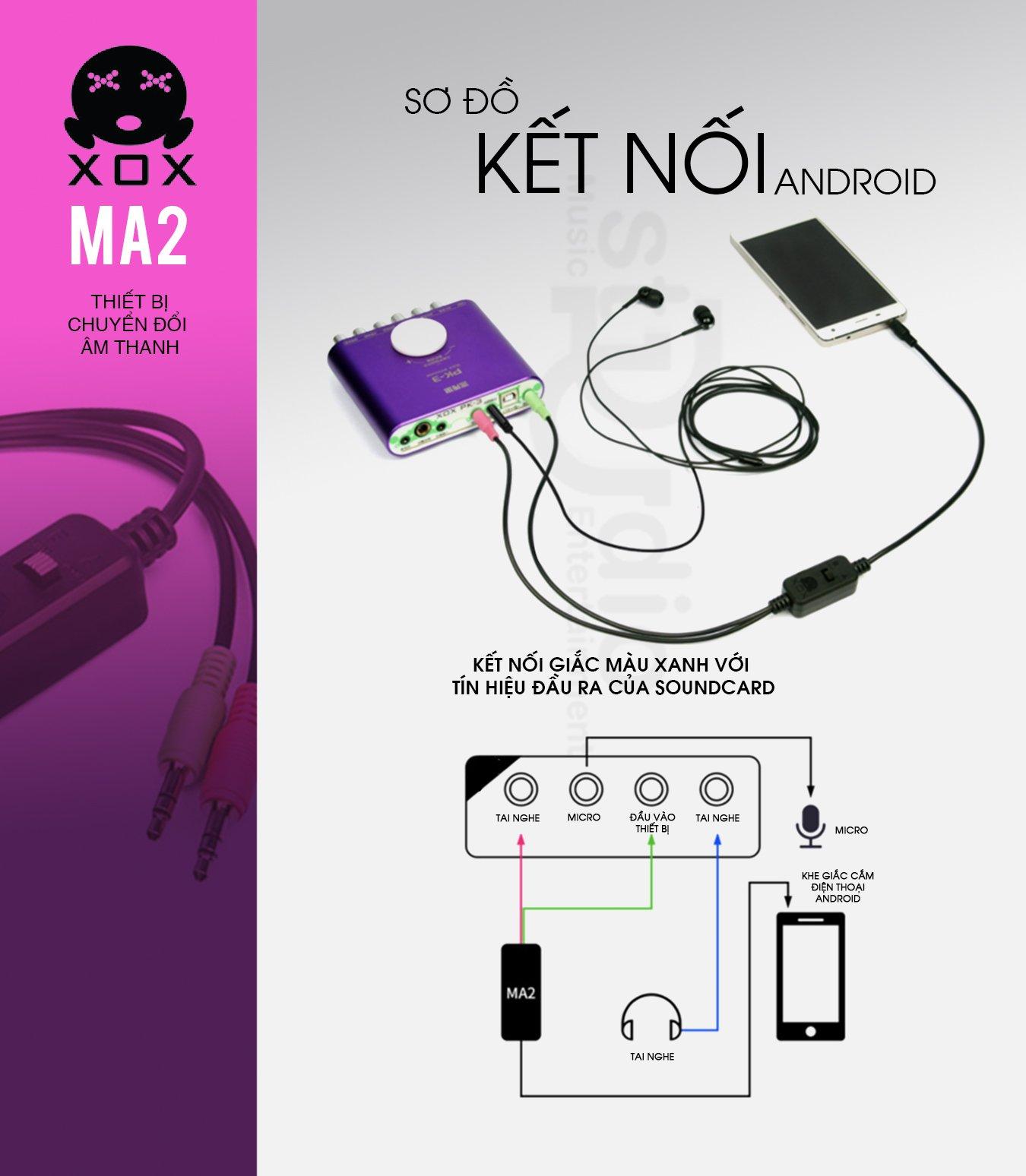 Dây livestream XOX MA2 (Mono), Dây livestream 3 màu âm thanh chất lượng