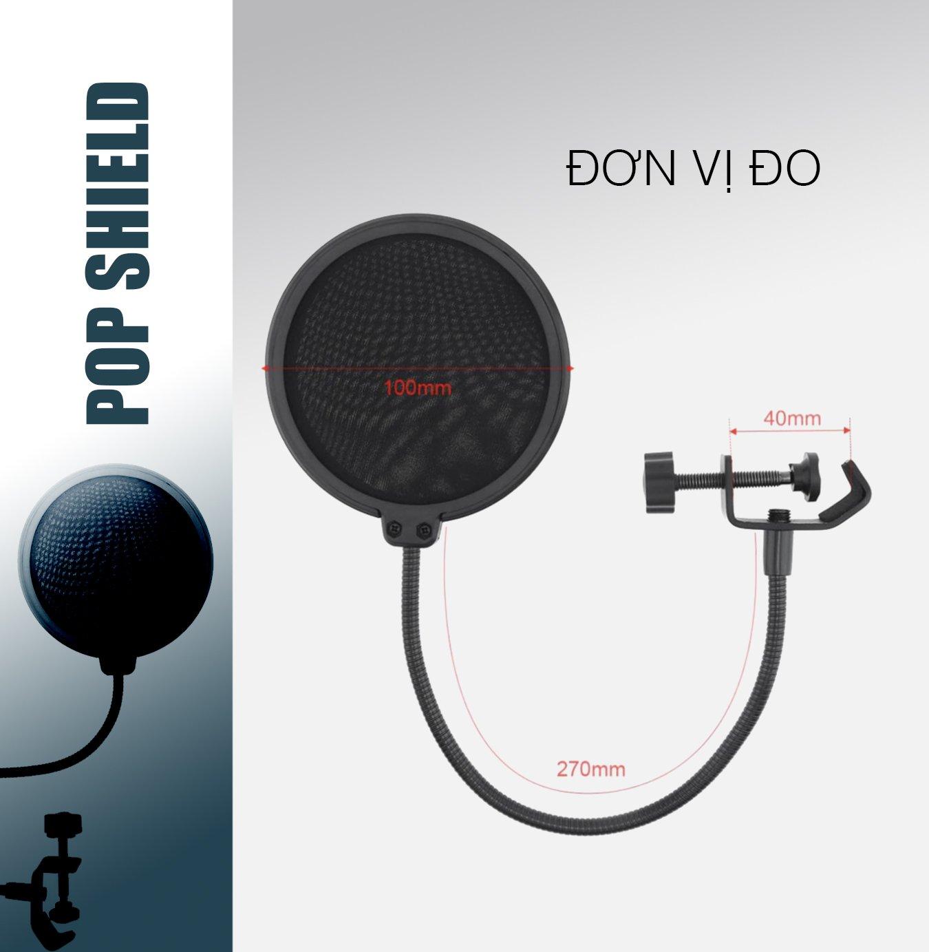 Màng lọc âm (POP FILTER), màng lọc micro thu âm 2 lưới