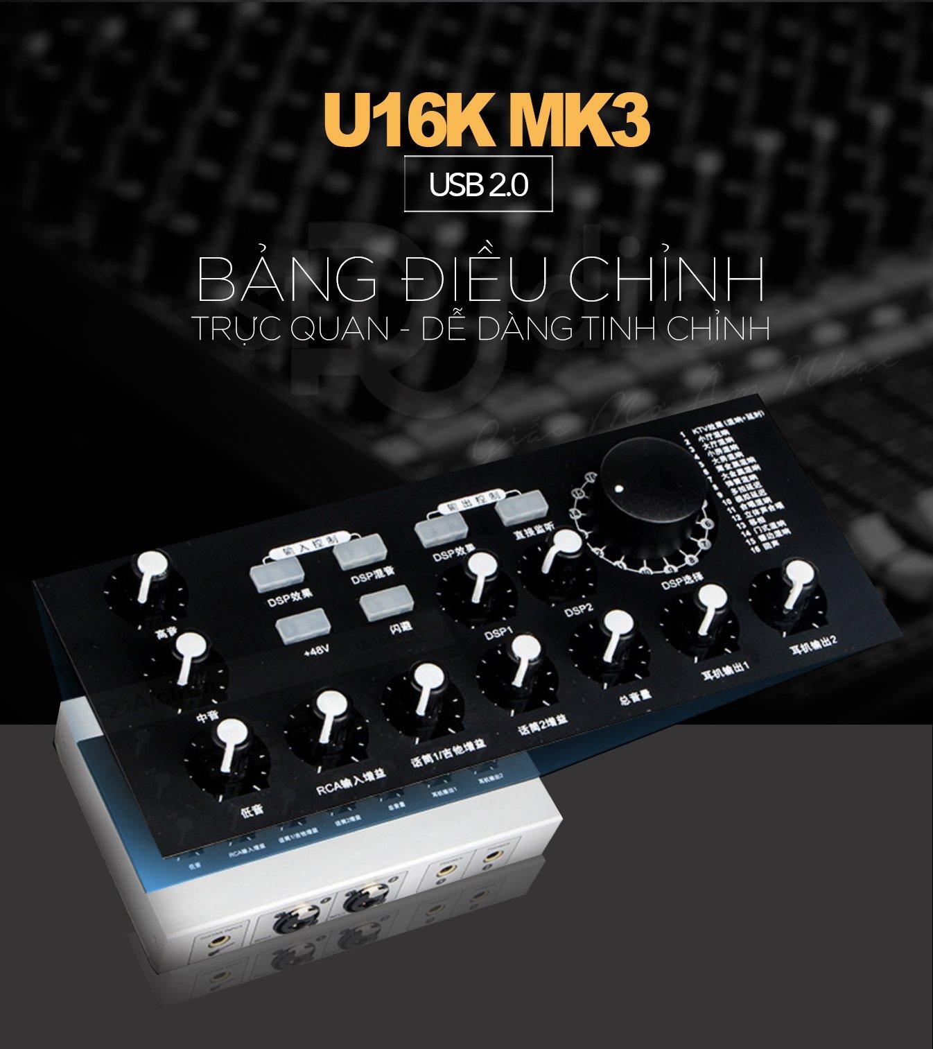 Sound card livestream ALCTRON U16K MK3, hát thu âm karaoke tốt