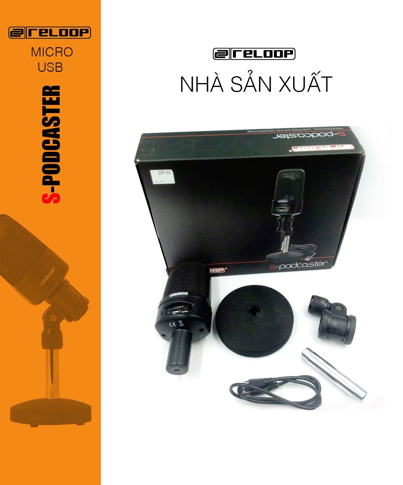 Microphone thu âm RELOOP SPODCASTER, Micro thu âm USB chuyên dụng