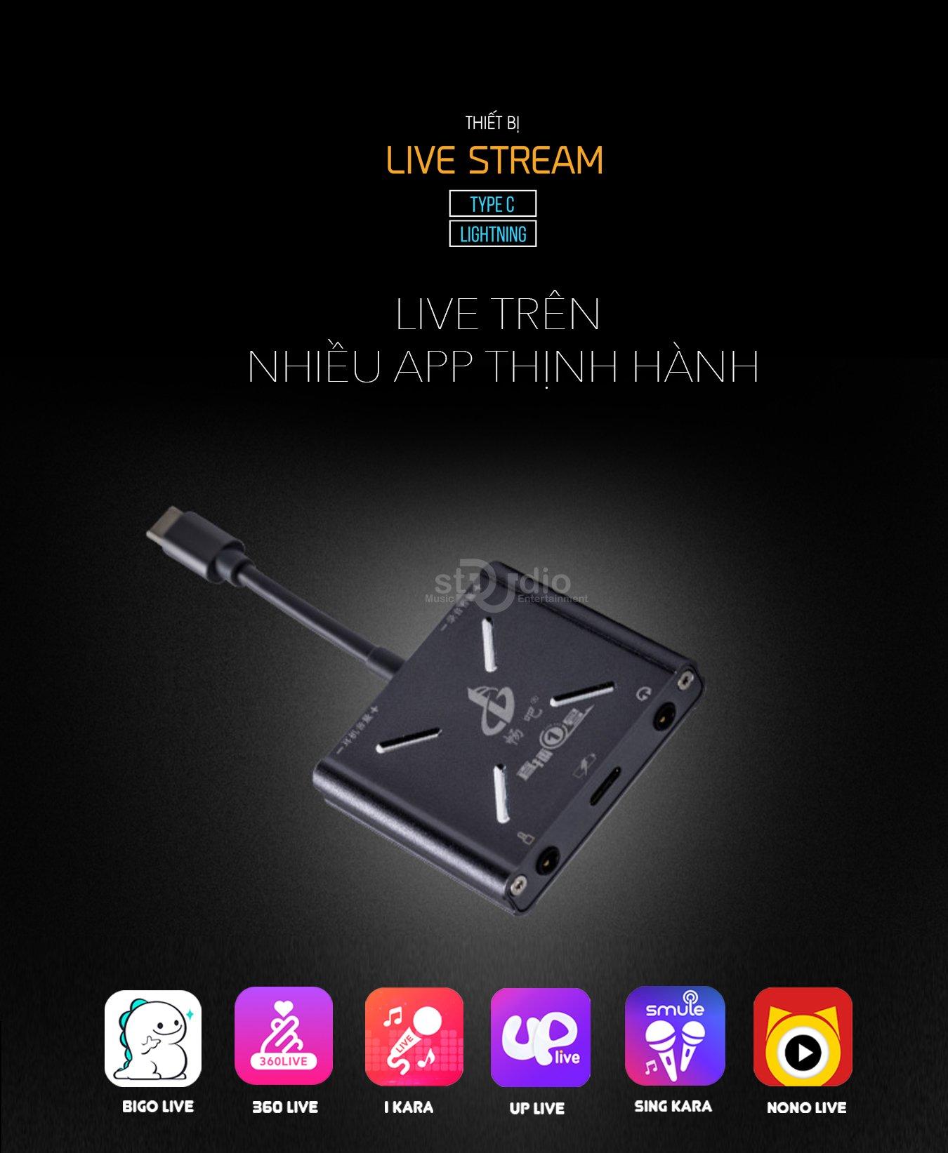 Dây livestream Type-C, dây livestream Lightning, dây livestream cho Androi, dây livestream cho Iphone đời mới nhất (Mono)