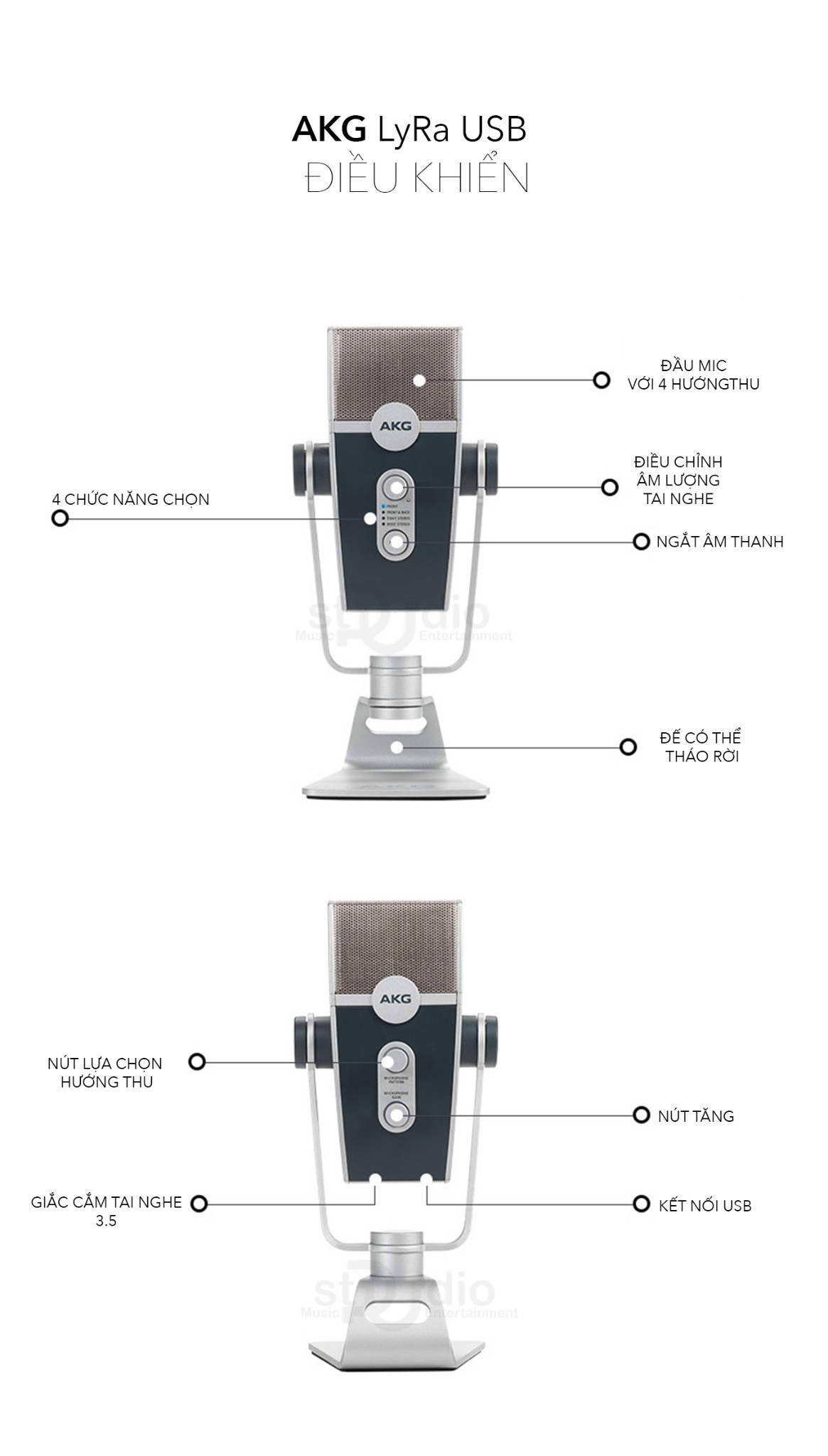 Microphone Condenser USB AKG LYRA, Micro stream thu âm