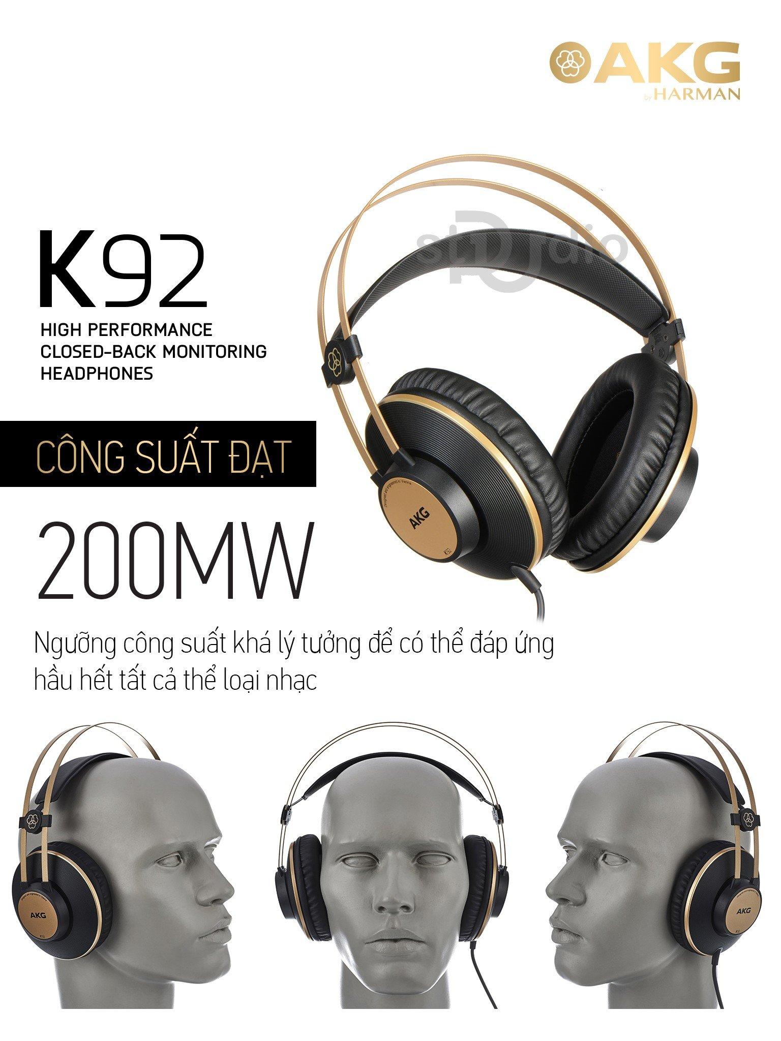 Tai nghe kiểm âm AKG K92, Headphone Studio