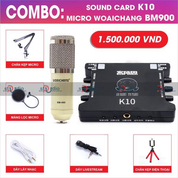 Micro Bm900 Woaichang - micro thu âm livestream giá rẻ karaoke online