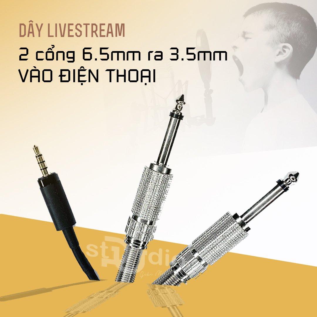 Dây livestream 2 cổng 6.5mm ra cổng 3.5mm cho điện thoại tốt