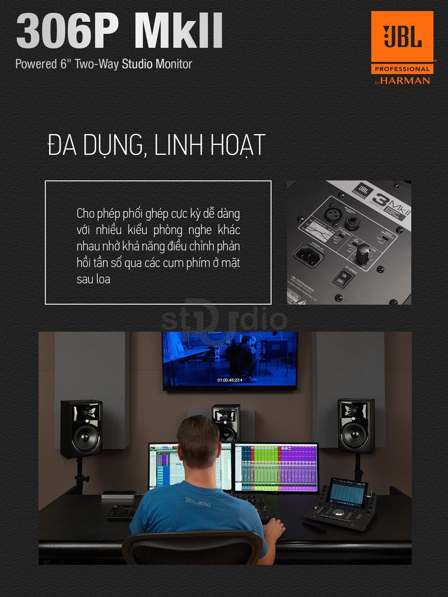 Loa kiểm âm JBL 306P MKII, Monitor Studio