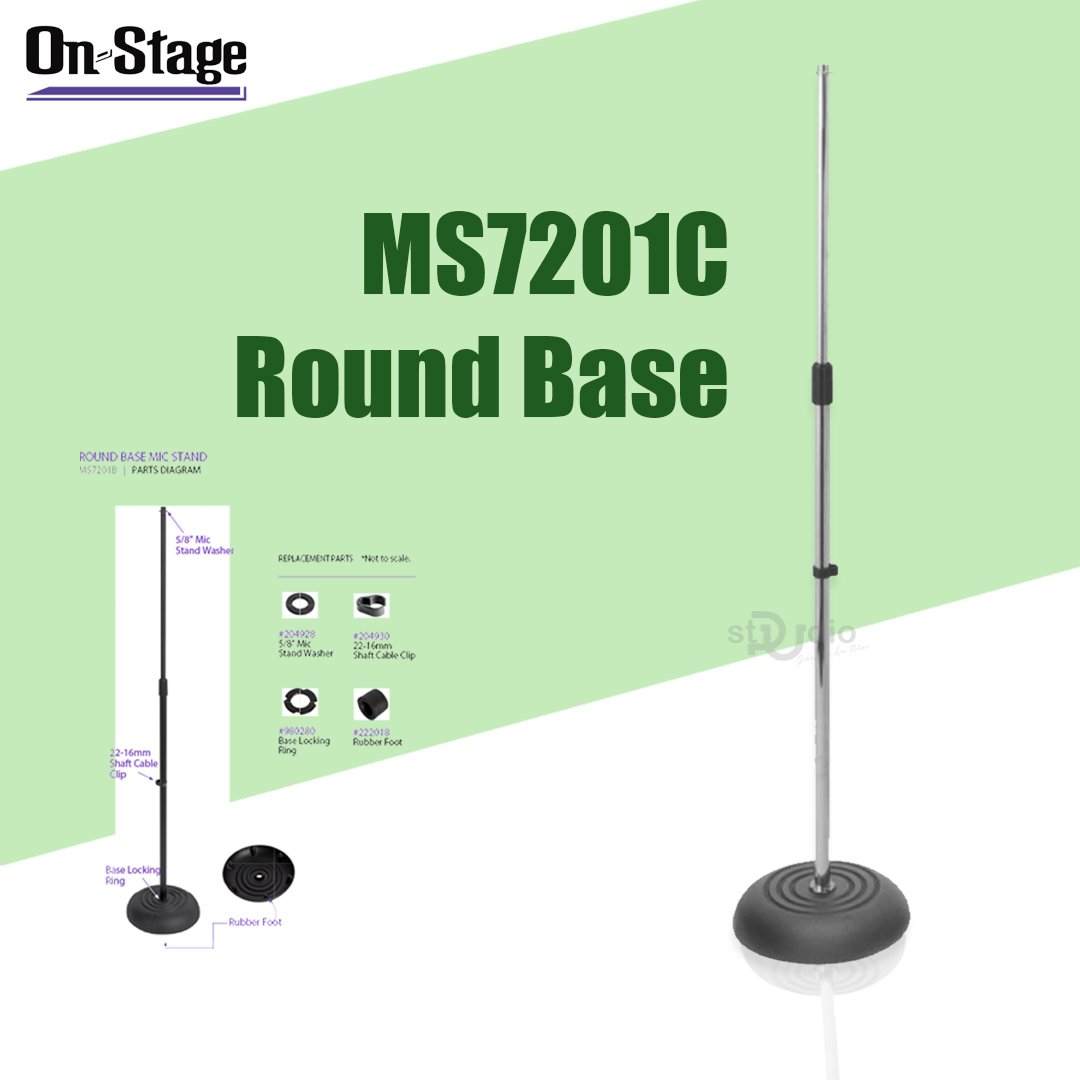 Chân đứng Micro thu âm On-Stage MS7201C Round Base Mic Stand (Chrome)