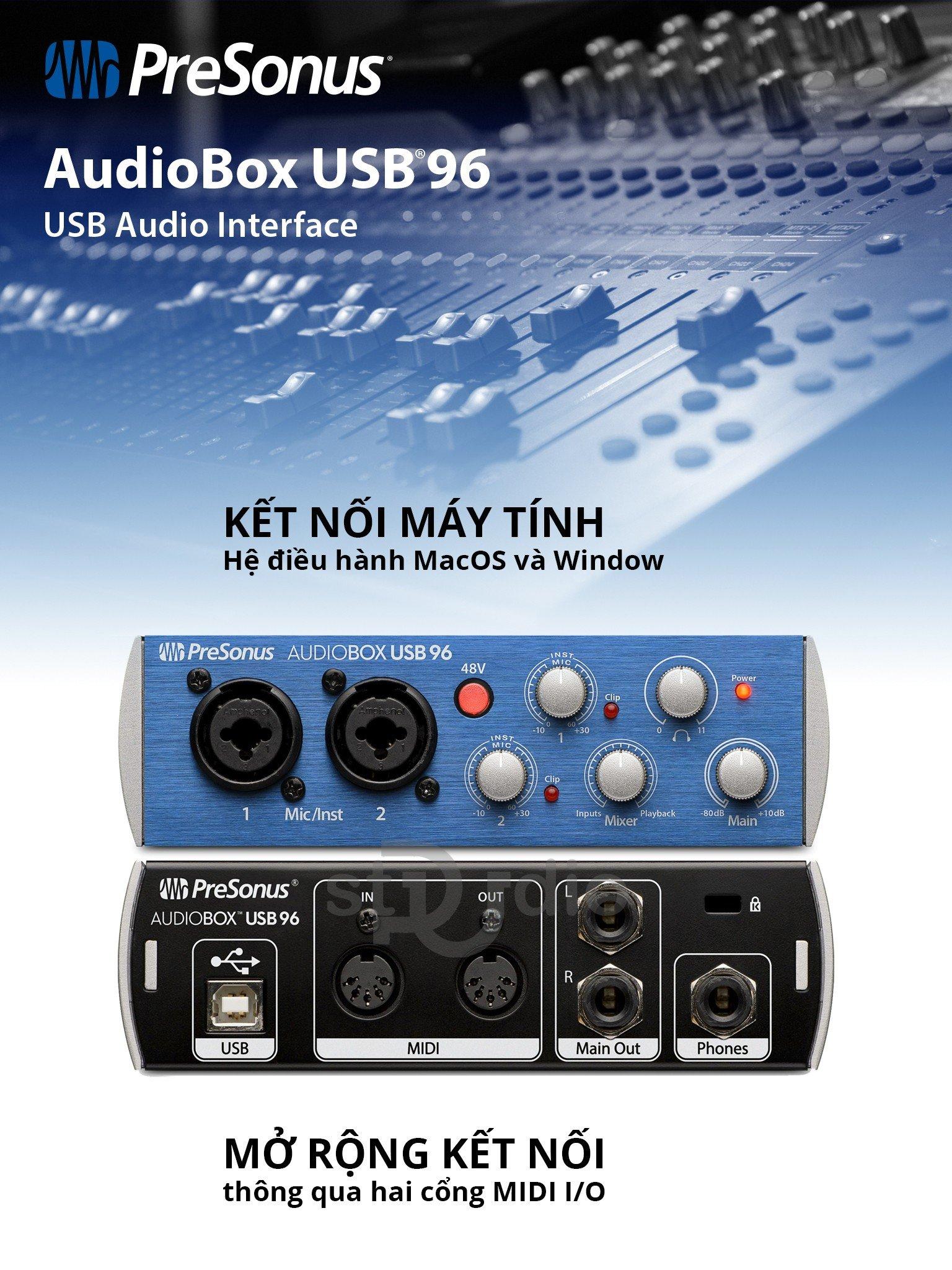 Sound card Presonus AdioBOX 96 USB - Soundcard thu âm mini