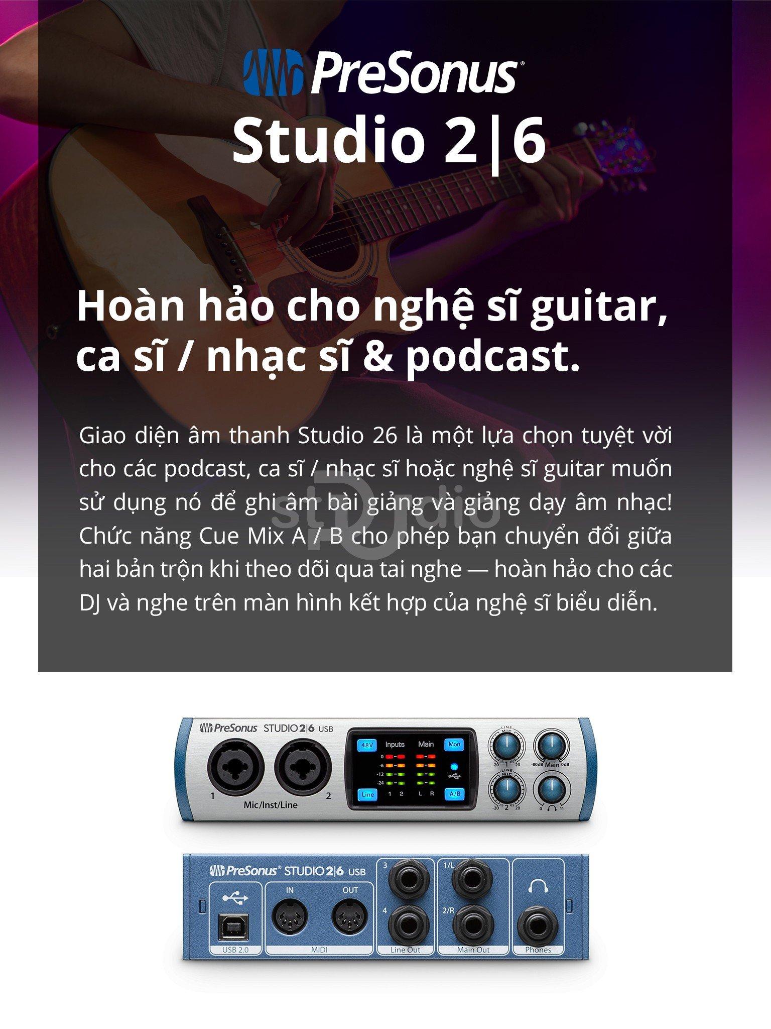 Sound card Presonus Studio 26 - Soundcard thu âm mini tại nhà