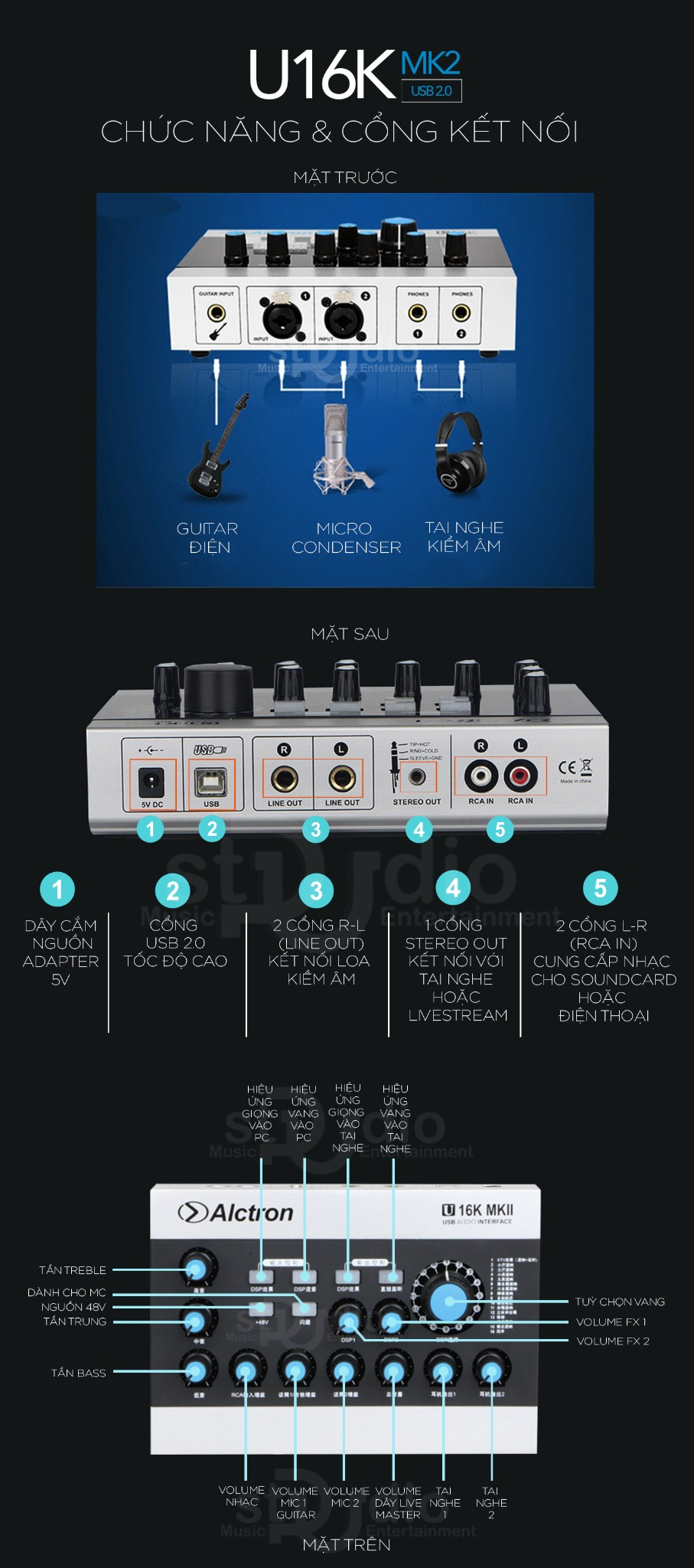 Sound card livestream ALCTRON U16K MKII, hát thu âm karaoke online